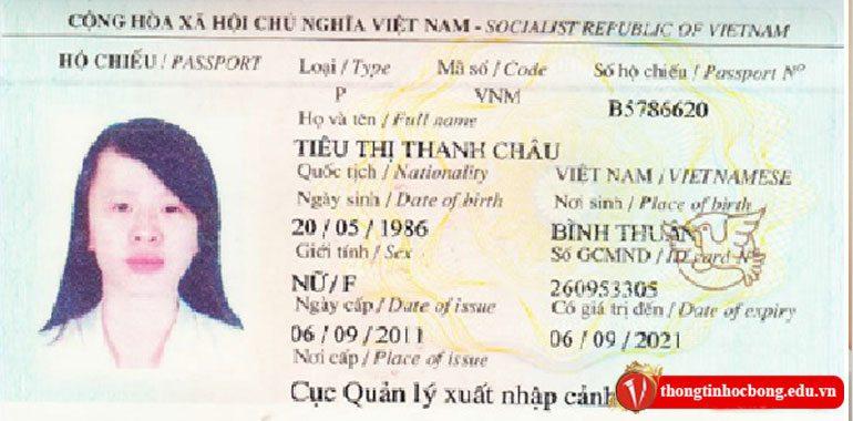 Hộ chiếu Tiêu Thị Thanh Châu